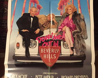 Down and Out in Beverly Hills Original Movie Poster / 1986 Vintage Poster for Down and Out in Beverly Hills stars Nick Nolte & Bette Midler