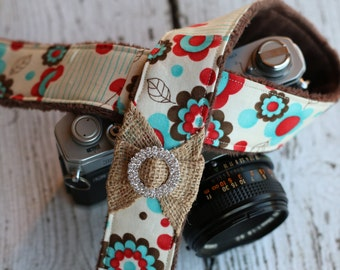 Camera Strap. Cute Camera Strap. dSLR Camera Strap. Burlap Camera Strap. Padded Camera Strap. Digital Camera Strap