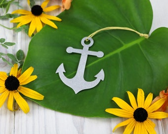 Anchor Sail Boat Metal Ornament Rustic  Gift for Her Him Personalized Wedding Favor Nautical Ocean Custom Stamping Sailing 4th of July