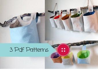 Three Basket Patterns, PDF Sewing Patterns, Hanging Basket Pattern Collection, Digital Downloads
