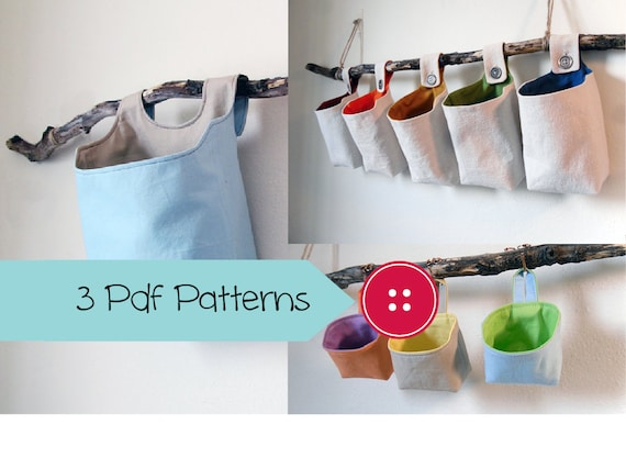Three Basket Patterns, PDF Sewing Patterns, Hanging Basket Pattern ...