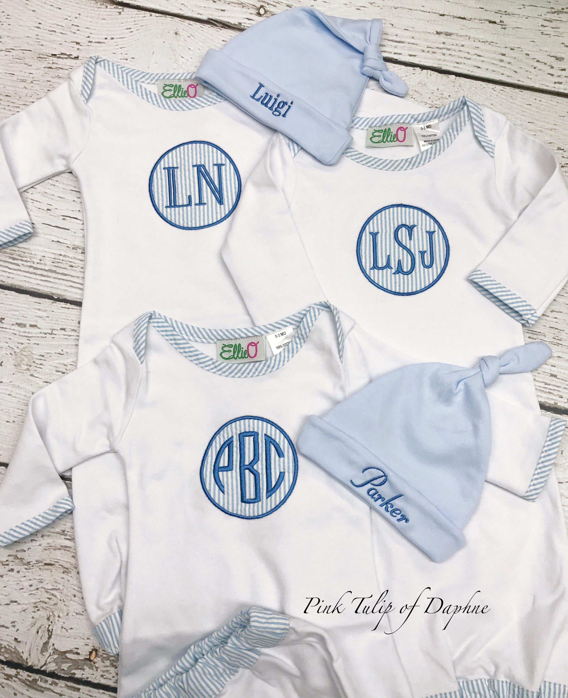 Seersucker infant gown Infant gown Infant boy gown Monogrammed