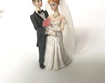 Vintage Porcelain Bride and Groom Cake Topper