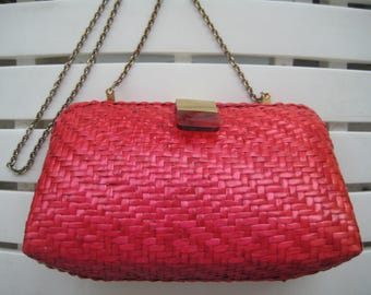 Bold Pink Wicker Shoulder Bag from Nordstroms