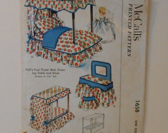 Doll's Bedroom Furniture - Four Poster Bed, Dresser, Table and Stool Vintage 1950's McCall's 1658 Sewing Pattern