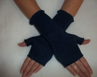 Sweater Knit Fleece Fingerless Gloves / Navy Blue Heather / Your choice of size