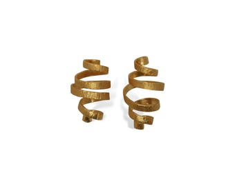 Elegant Gold Infinity Earrings for Women, Handcrafted Earrings for Her, Gift Jewelry Ideas for Women, Handmade Medium Size Earrings, Porpe