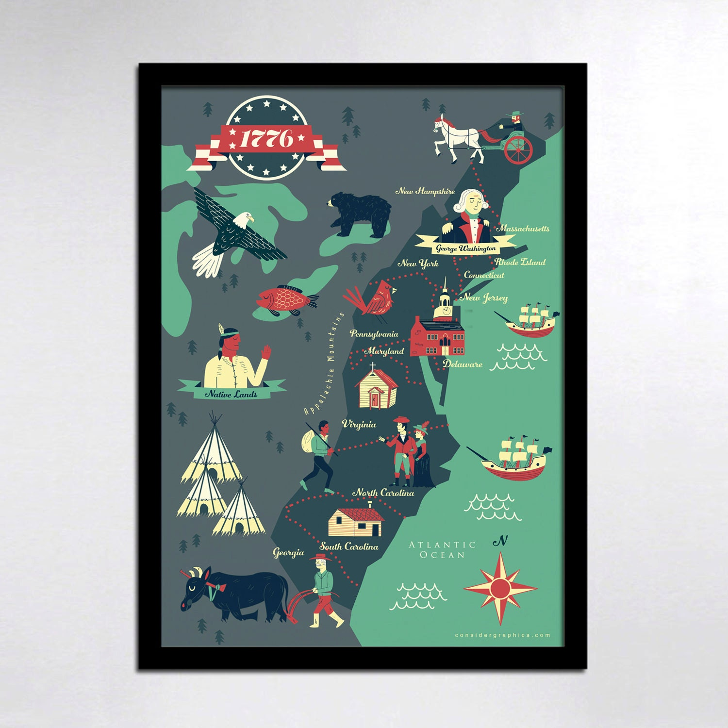 KIDS Map Historical American Map Colonies Map Print KIDS - Wall map children's room