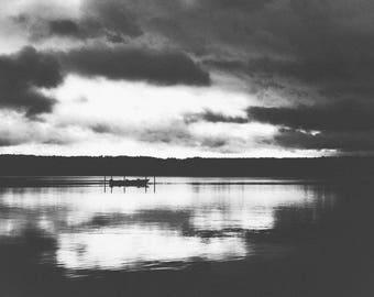 Chautauqua Lake Black & White // New York Landscape Nature Photography // Mounted Photo Print