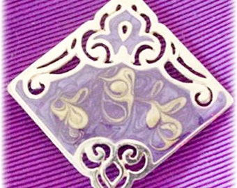 Gold and Purple Enamel Square Brooch