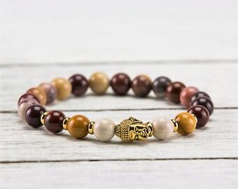 Mookaite Jasper Gold Buddha Pendant 8mm Meditation Mala Bracelet