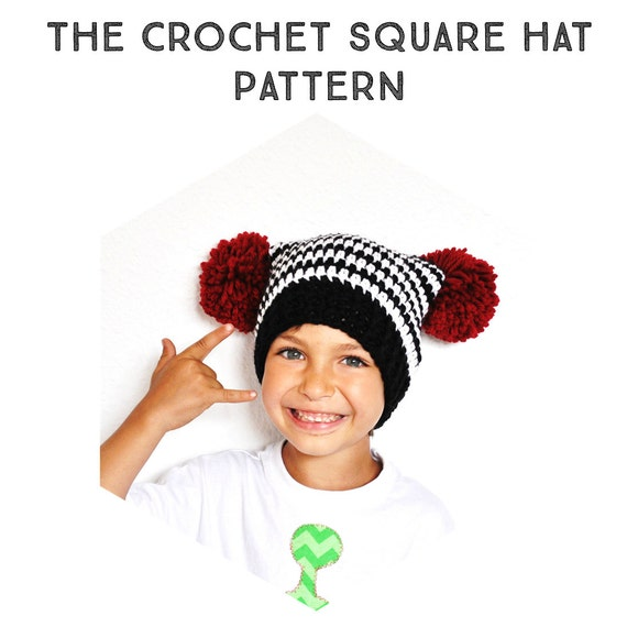 Patron Tutorial Crochet Gorro Cuadrado Bebe Niños &