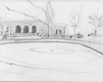 Ft Tryon Park Playground - NYC - Upper Manhattan - Inwood and Washington Heights - 8x10 print of original pencil drawing