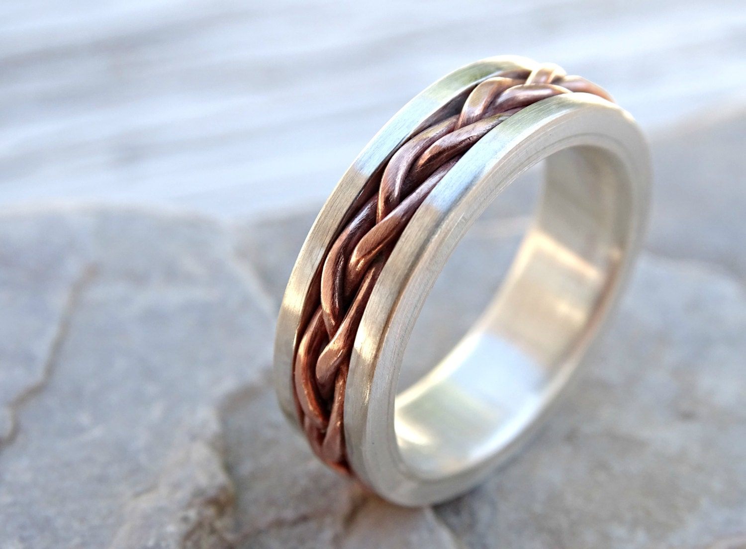 made solid two by rings ring a hammered buy custom gold metal tone and band ri mens wedding silver crazyassjewelry mixed