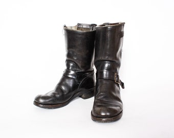 Vintage 80s Engineer Moto Boots / 1980s Black Leather Steel Toe Harness Boots Men's 8 Women's 10