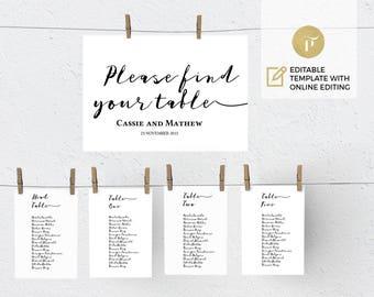 Printable Wedding Seating Chart Template, Wedding Table plan    Instant Download   DIY You print    Calligraphy