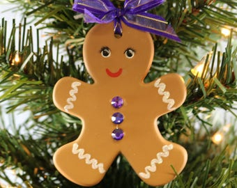 Hand painted Ceramic Gingerbread Boy Ornament with Multi Colored Swarovski Rhinestone Buttons