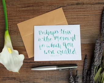 For Such A Time As This Esther 4:14 blank A2 card, set of 4 with envelopes - Bible verse watercolor handlettering