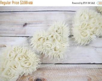 """ON SALE 20% OFF 3 pcs  Heart Shabby Rose Trim -  Size 3.5"""" - Ivory Color - Heart Appliques - Frayed -Heart Chiffon Trim - Hair Accessories S"""