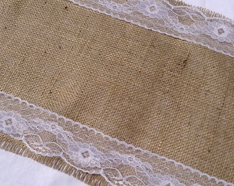 2m Hessian Table Runner with Vintage Style White Lace
