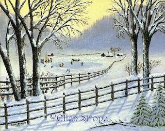 The Skating Pond 8 X 10 Giclee Print- Winter Snow- Skating