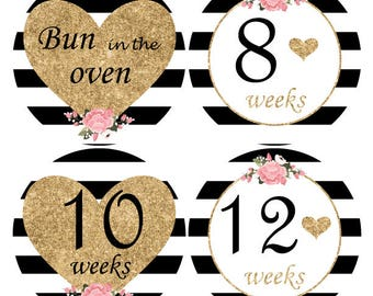 16 Baby Bump Stickers, Pregnancy stickers, Maternity Sticker, Weekly Belly Sticker, Glitter baby bump stickers, Black White photo prop, B202