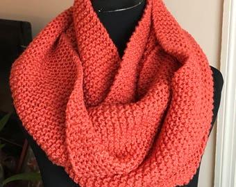 Hand Knit Infinity Scarf - Pumpkin