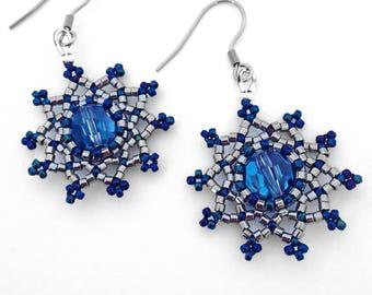 Dizandra earrings in Infinity - Star Earrings - Blue Crystal Earrings - Mandala Earrings - Silver Star - Star-Fae - Statement Earrings