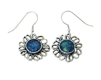 Roman Glass Earrings, Vintage Earrings, 925 Silver Earrings, Unique Flower Earrings, Artisan Earrings, Roman Glass Jewelry, Israeli Jewelry