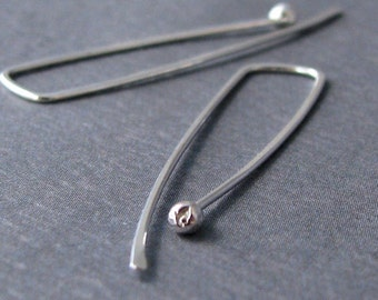 Extra Long Earrings, Sterling Silver Rectangle Skinny Ball Drop Hoops, 20g - Artisan Jewelry
