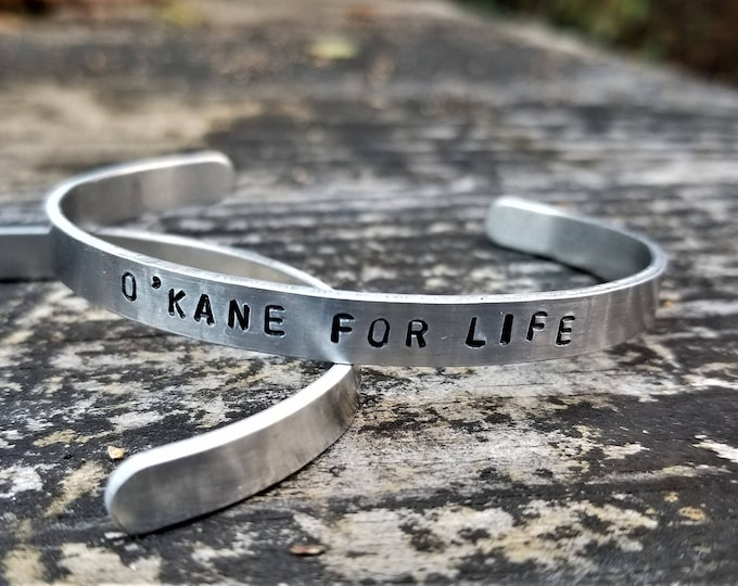 O'Kane for Life: Hand Stamped Metal Cuff Bracelet, Aluminum