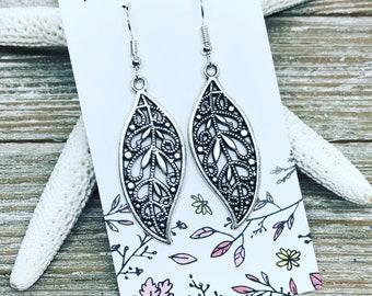 Tibetan silver leaf earrings