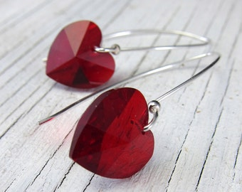 RED HEART Earrings -- Valentine, Love, Swarovski Crystal Jewelry by SusanHeleneDesigns