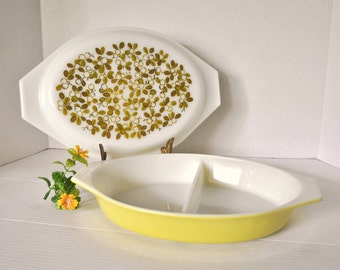 Vintage Pyrex Yellow Green Olive Verde Pattern Glass Covered Divided Casserole Dish, EXCELLENT Condition