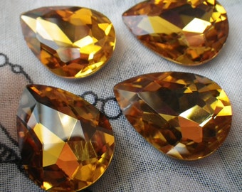 Golden Topaz 25x18mm Pear Crystal Glass Pointed Back Gems 4 Pcs