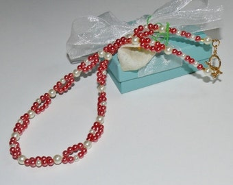 Coral & White Pearl Loop Beaded Handmade Ladies Necklace/Pearl Necklace/Beaded Necklace/Coral Necklace/Multi Strand Necklace/Glam Necklace