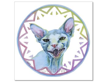 "Sphynx Cat Lara fine art print 10""x10"" by Noewi from original painting - hairless cat kitten illustration drawing"