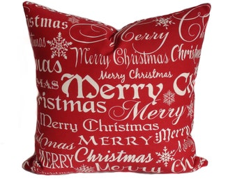 Christmas pillow cover, 14x14, Holiday pillows, Red pillow covers, Decorative pillow, Christmas decor, Throw pillow, Holiday decor