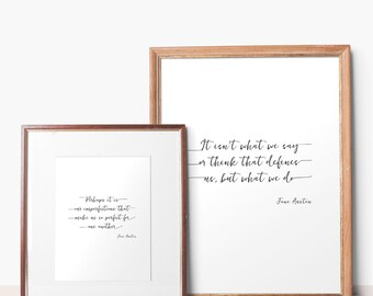 Jane Austen Quotes, Set of 2 Printables, Jane Austen Print, Perfect For Each Other and It isn't What We Say, Instant Download, 8x10