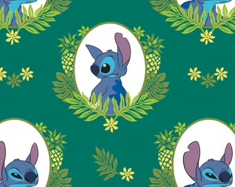 Lilo & Stitch Fabric, Evergreen Frame, Palm Frond, Disney Fabric, Licensed Fabric - Camelot 85240102 Green  - Priced by the half yard