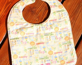 TODDLER Bib: Sweet Pea Words and Jammy Animals on Back