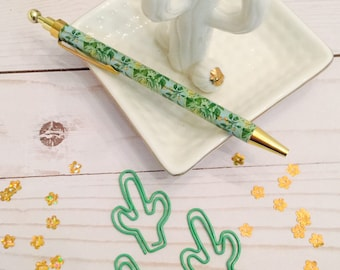 Cactus Planner Clip ~ Paper Clip ~ Page Clip ~ Bookmark ~Green ~ (Set of Two)