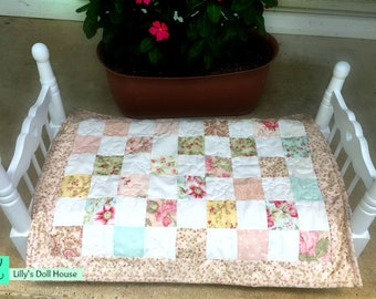 Handmade Pink and White Doll Quilt for American Girl, Madame Alexander and Other Doll Beds; Free Shipping