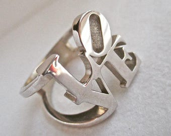 Love ring, Love statue ring, Love park ring, Sterling silver Love ring