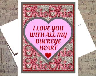Ohio State Card, Funny Valentine Card, Funny I Love You Card, Buckeye Card, Valentine Card, I Love You Card, Anniversary Card, OSU Card