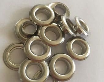 "100 pcs  # 2 ( 3/8"" ) Nickel plated solid brass self piercing grommets&washers"