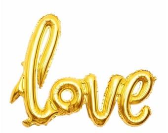 "Gold Love Balloon script font/ 40"" balloon banner/ air fill only/ script balloon/wedding balloon/ jumbo balloon/"