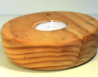 Large Round Tea Light Holder Reclaimed Wood