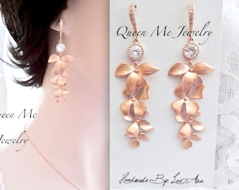 Rose gold orchid earrings Cascading rose gold orchid earrings Rose gold Chandelier earrings Beach wedding earrings Rose gold wedding jewelry