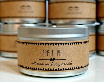 APPLE PIE Soy Candle. Natural Candle. Scented Candle. Eco Friendly. Vegan Friendly. Fall Candles. Gift